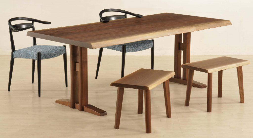 共木テーブル-クラフト二本脚